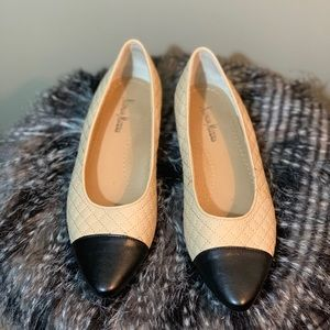 Neiman Marcus Quilted Leather Flats
